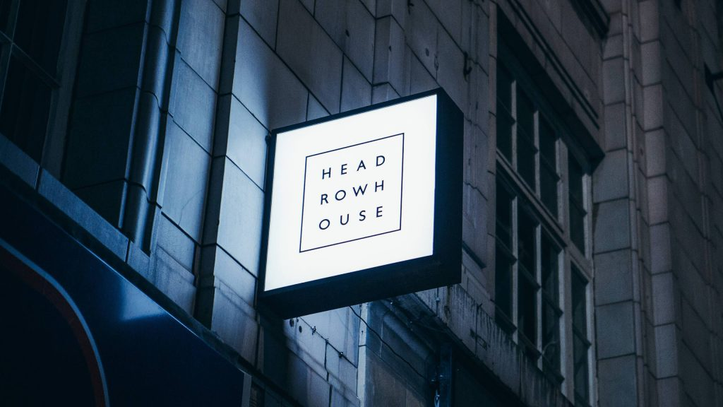 Headrow House Branding, Exterior Lightbox Signage