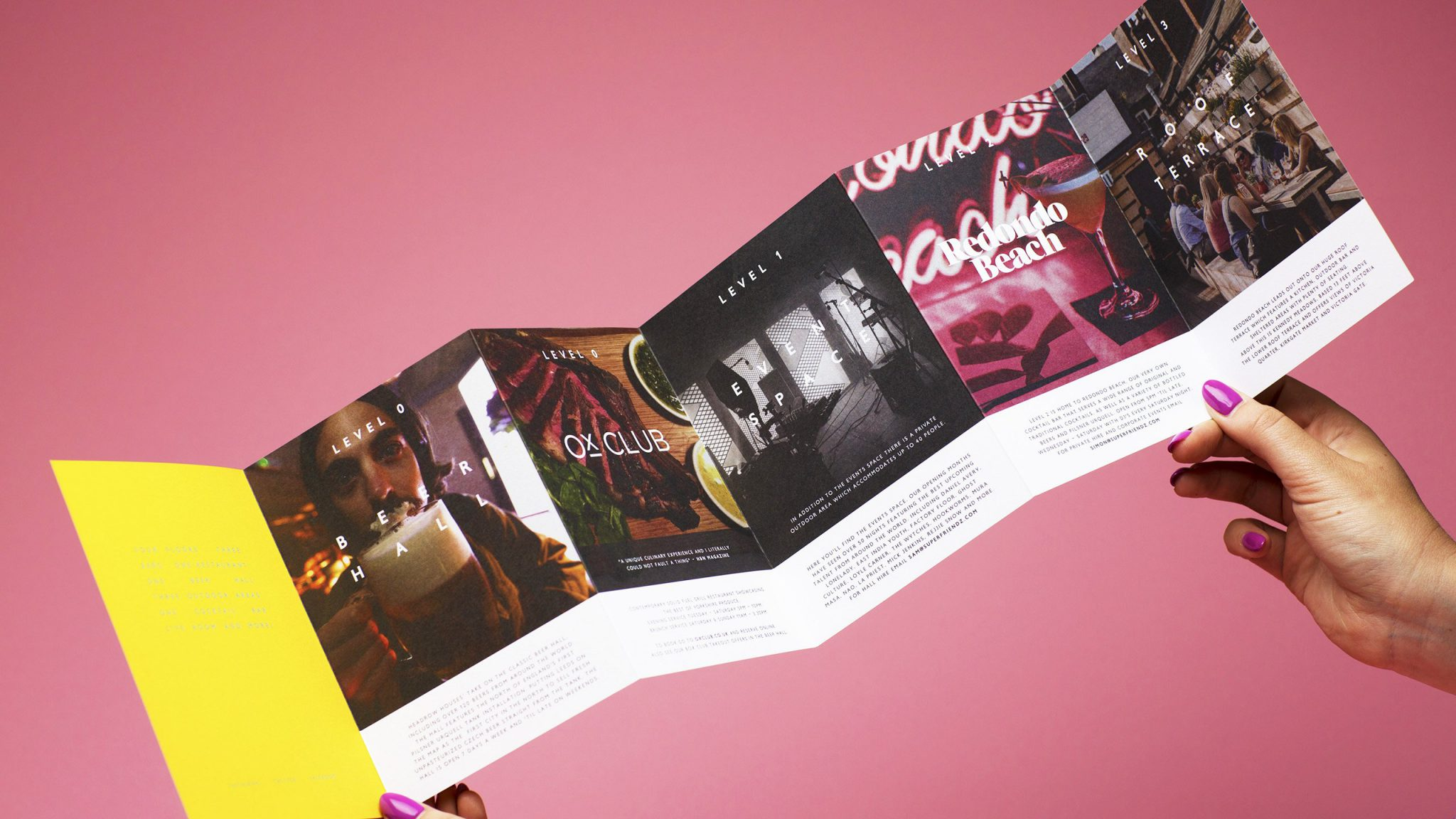 Headrow House Branding, Fold Out Leaflet, Design and Print