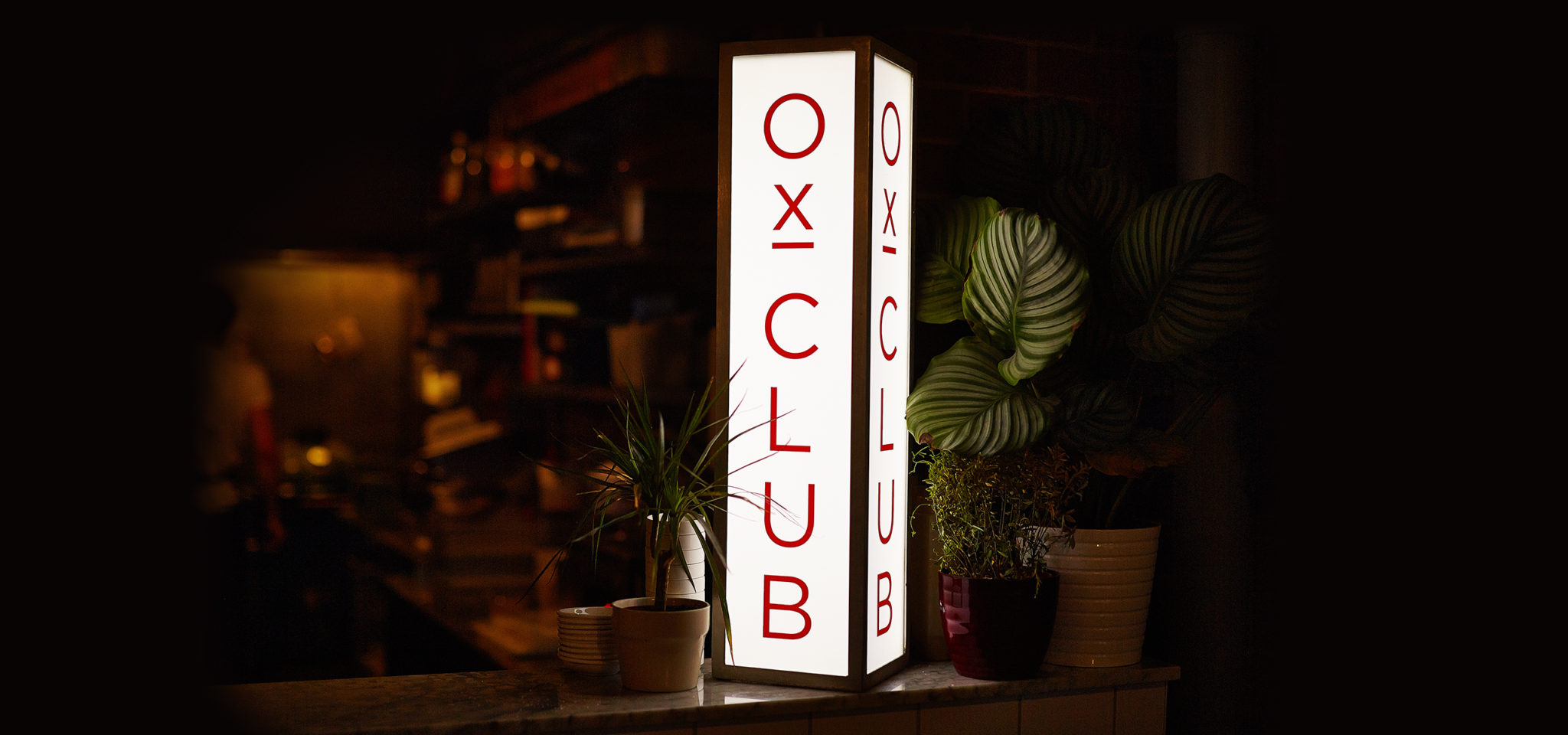 Ox Club Restaurant Branding, Interior Lightbox Signage
