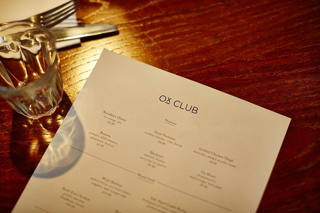 Ox Club Restaurant Branding, Menu Design