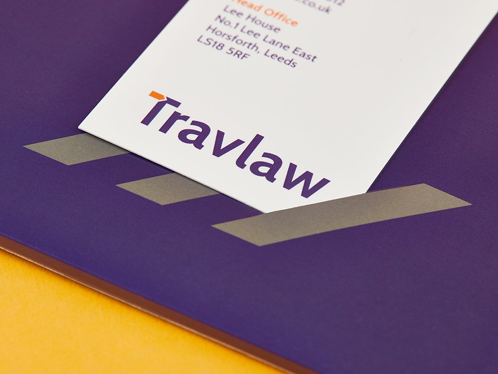 Travlaw Branding, Folder Design and Print, Business Card, Close Up