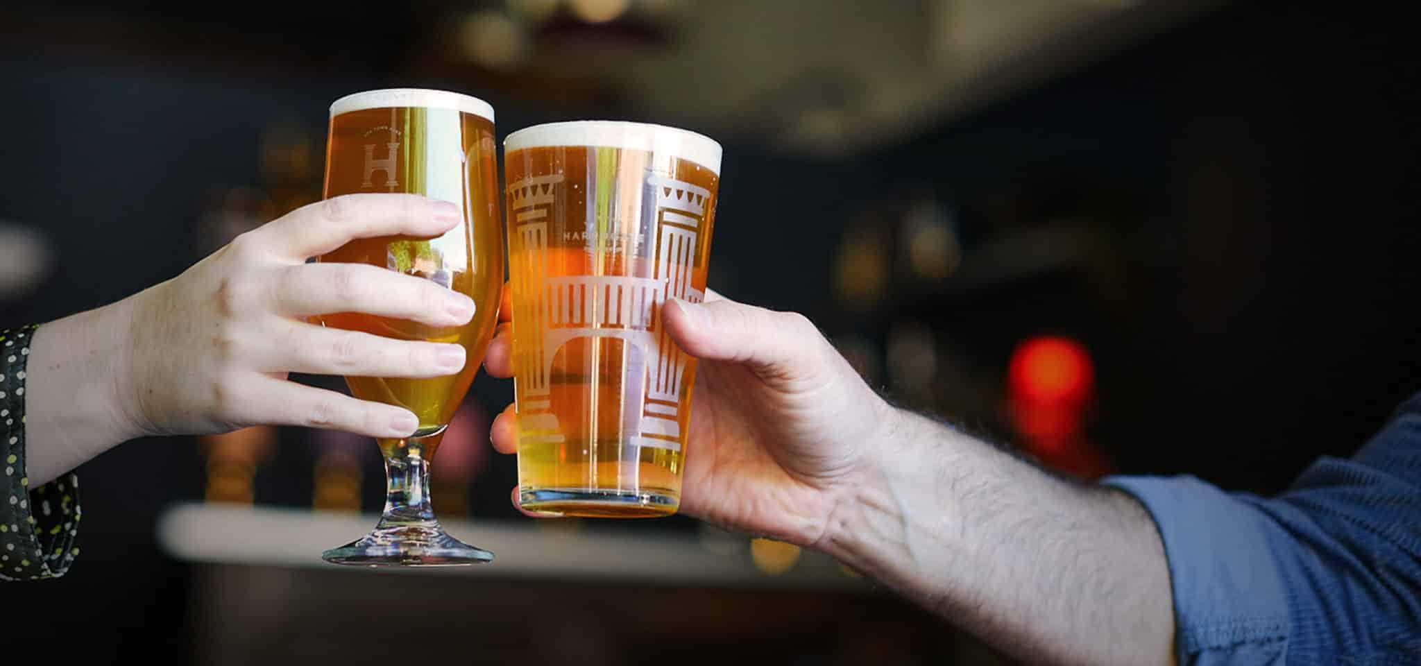Harrogate Brewing Co. Branding, Cheers, Branded Glasses